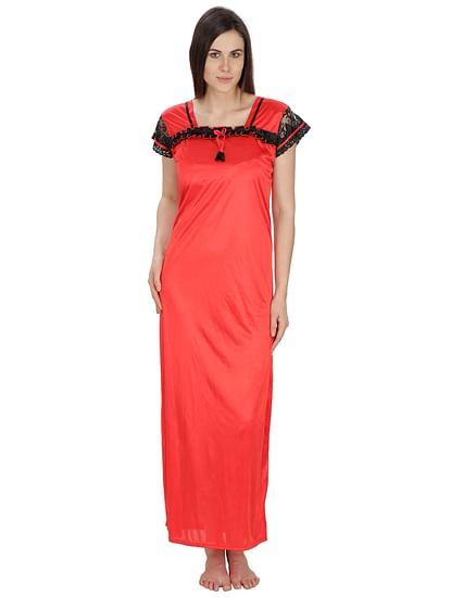 Secret Wish Women's Satin Red Nighty (Red, Free Size)