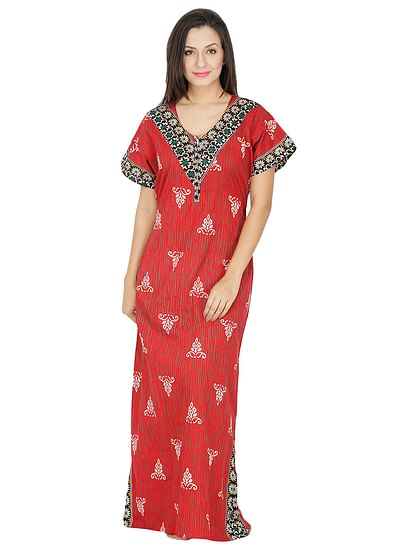 Secret Wish Women's Red Cotton Printed Maxi Nightdress