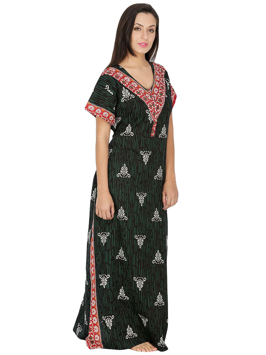 Secret Wish Women's Green Cotton Printed Maxi Nightdress