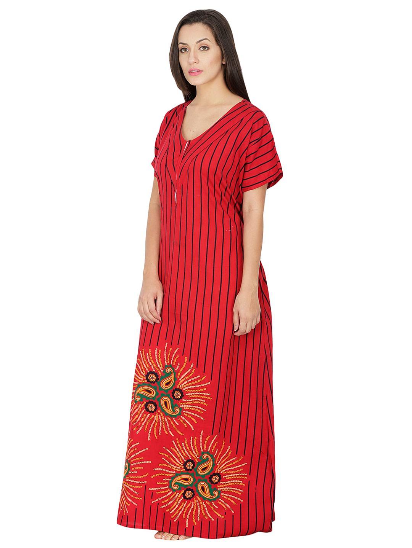 Secret Wish Women's Red Cotton Printed Maxi Nightdress
