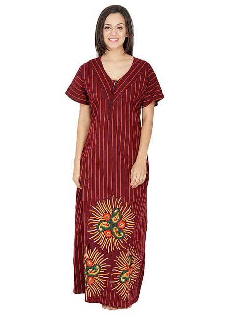 Secret Wish Women's Cotton Brown Nighty, Nightdress (Brown, Free Size)