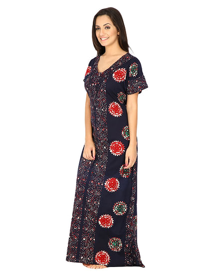 Secret Wish Women's Navy Blue Cotton Printed Nighty (Free Size)