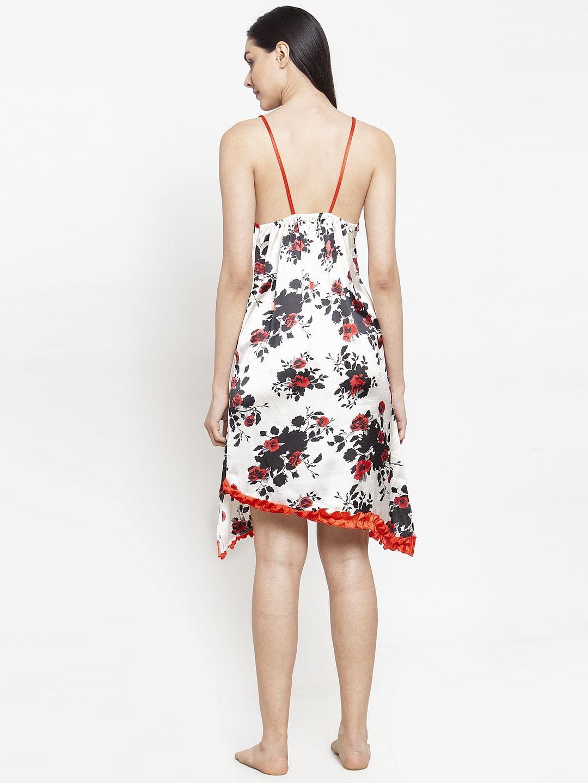 Secret Wish Women's Red-White Printed Satin Babydoll (Free Size)