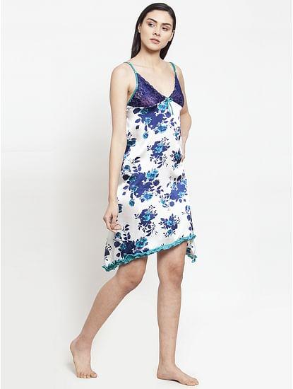 Secret Wish Women's Blue-White Printed Satin Babydoll (Free Size)