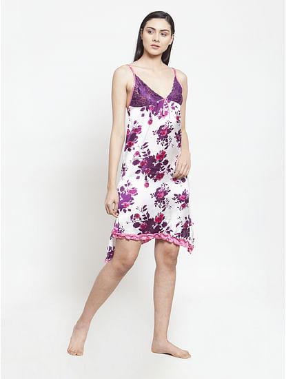 Secret Wish Women's Purple-White Printed Satin Babydoll (Free Size)