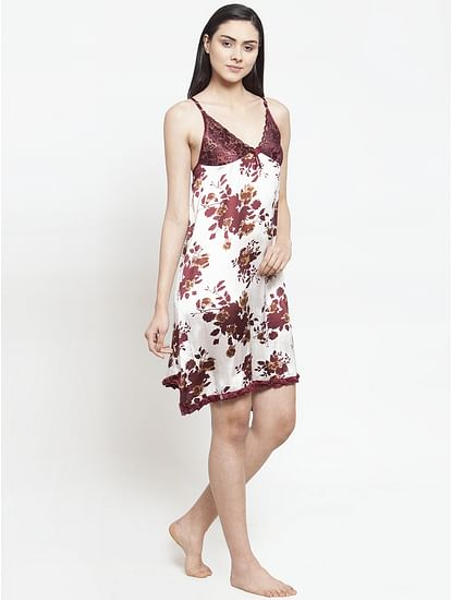 Secret Wish Women's Brown-White Printed Satin Babydoll (Free Size)