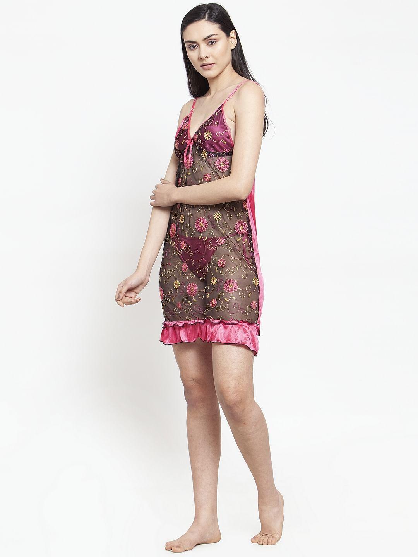 Secret Wish Women's Pink Printed Satin Babydoll (Free Size)