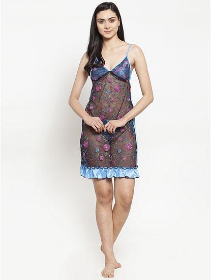 Secret Wish Women's Sky Blue Printed Satin Babydoll (Free Size)