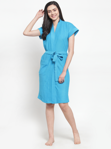 Secret Wish Women's Solid Cotton Blue Bath Robe (Free Size)
