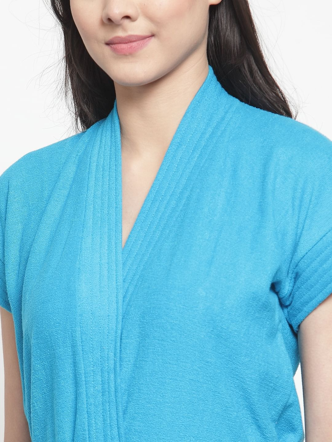 Secret Wish Women's Solid Cotton Blue Bath Robe (Free Size)