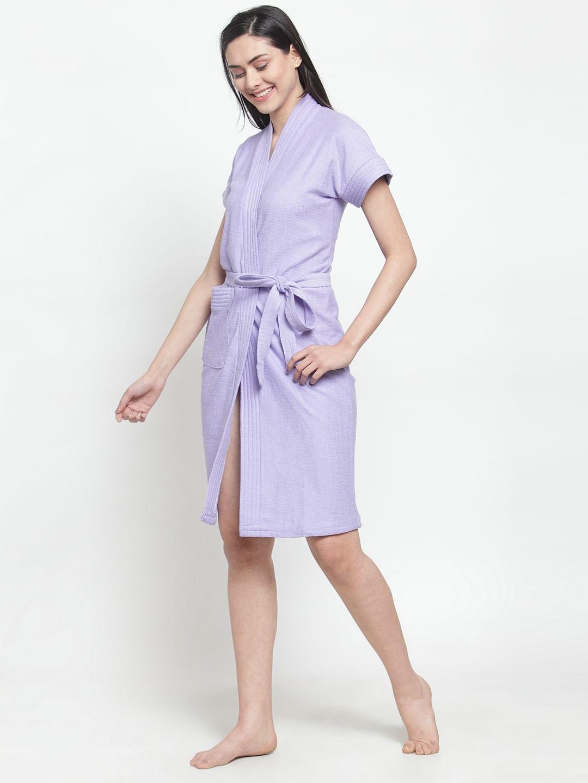 Secret Wish Women's Solid Cotton Light Purple Bath Robe (Free Size)