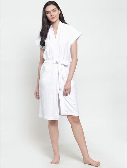 Secret Wish Women's Solid Cotton White Bath Robe (Free Size)