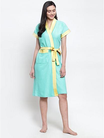 Secret Wish Women's Solid Cotton Sky Blue Bath Robe (Free Size)