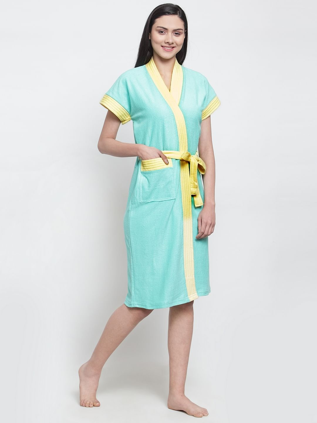 Secret Wish Women's Solid Cotton Sky Blue Bath Robe (Free Size)