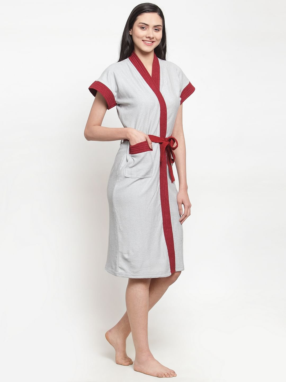 Secret Wish Women's Solid Cotton Grey Bath Robe (Free Size)