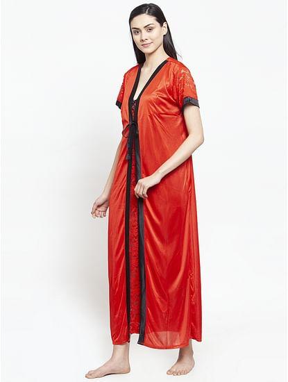 Secret Wish Women's Red Satin Nighty wih Robe (Free Size)