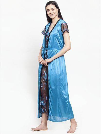 Secret Wish Women's Sky Blue Satin Nighty wih Robe (Free Size)