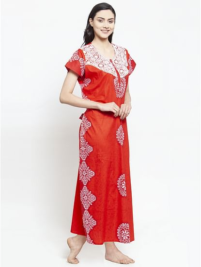 Secret Wish Women's Red Cotton Printed Nighty (Free Size)