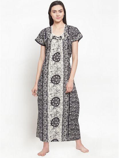 Secret Wish Women's Black Cotton Printed Nighty (Free Size)