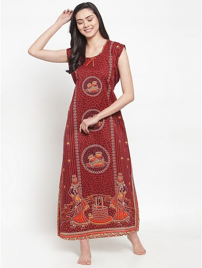Secret Wish Women's Maroon Cotton Printed Nighty (Free Size)