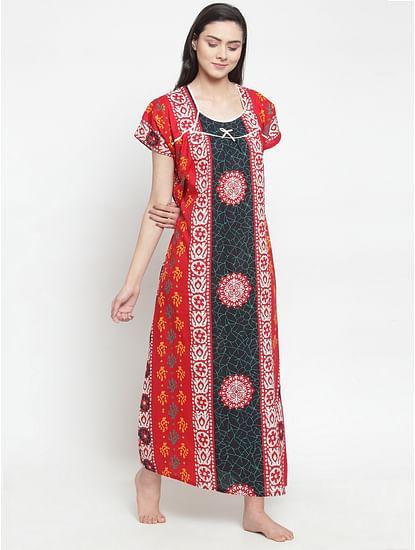 Secret Wish Women's Red Cotton Printed Nighty (Free Size)