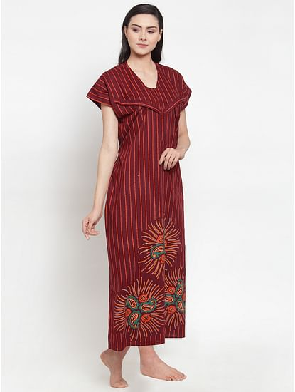 Secret Wish Women's Maroon Cotton Printed Maternity Nighty (Free Size)