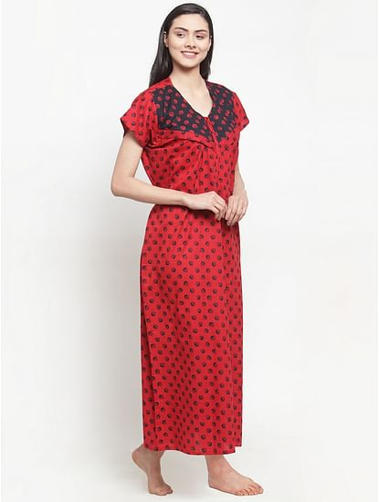 Secret Wish Women's Red Cotton Printed Maternity Nighty (Free Size)