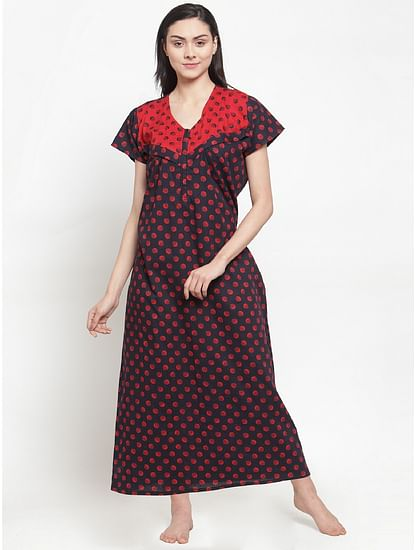 Secret Wish Women's Black Cotton Printed Maternity Nighty (Free Size)