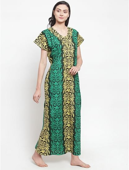 Secret Wish Women's Green-Yellow Cotton Printed Nighty (Free Size)