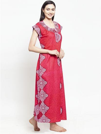 Secret Wish Women's Dark Red Cotton Printed Nighty (Free Size)
