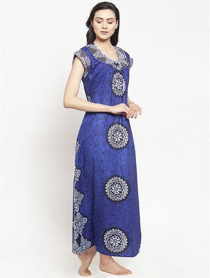 Secret Wish Women's Blue Cotton Printed Nighty (Free Size)