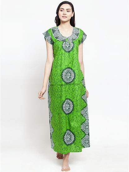 Secret Wish Women's Green Cotton Printed Nighty (Free Size)