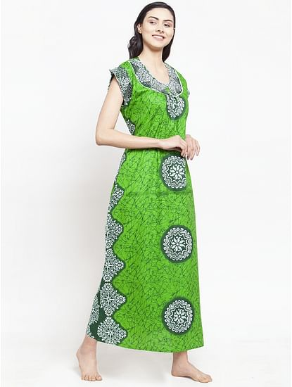 Secret Wish Women's Green Cotton Printed Nighty (Free Size)