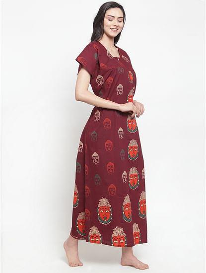 Secret Wish Women's Maroon Cotton Printed Nighty (Free Size)