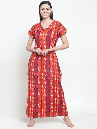 Secret Wish Women's Orange Cotton Printed Nighty (Free Size)