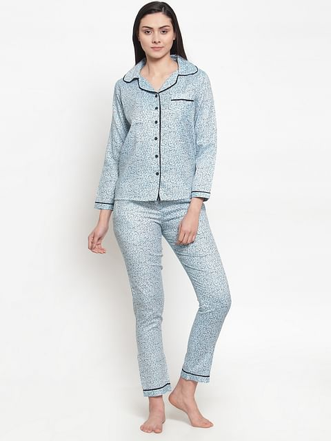 Secret wish Women's light blue cotton printed night suit