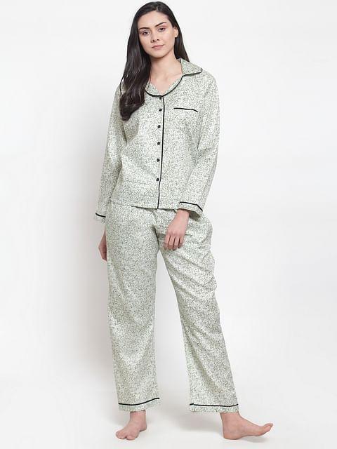 Secret wish Women's light green cotton printed night suit