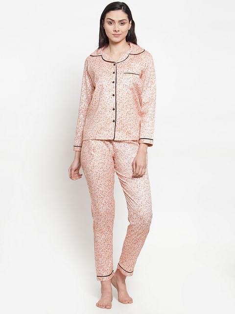Secret wish Women's peach cotton printed night suit