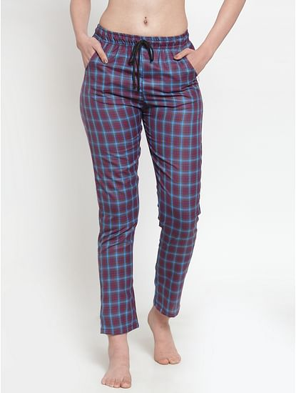 Secret Wish Women's cotton Maroon checkered pyjama
