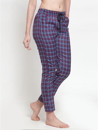 Secret Wish Women's cotton Maroon checkered pyjama