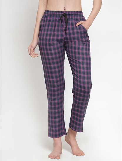 Secret Wish Women's cotton Purple checkered pyjama