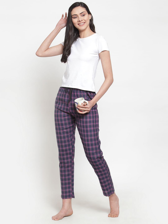 Secret Wish Women's cotton Purple checkered pyjama