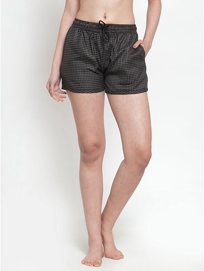 Secret Wish Women's cotton black small checkered shorts
