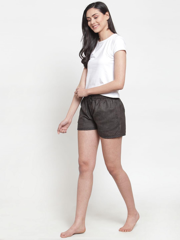 Secret Wish Women's cotton black small checkered shorts