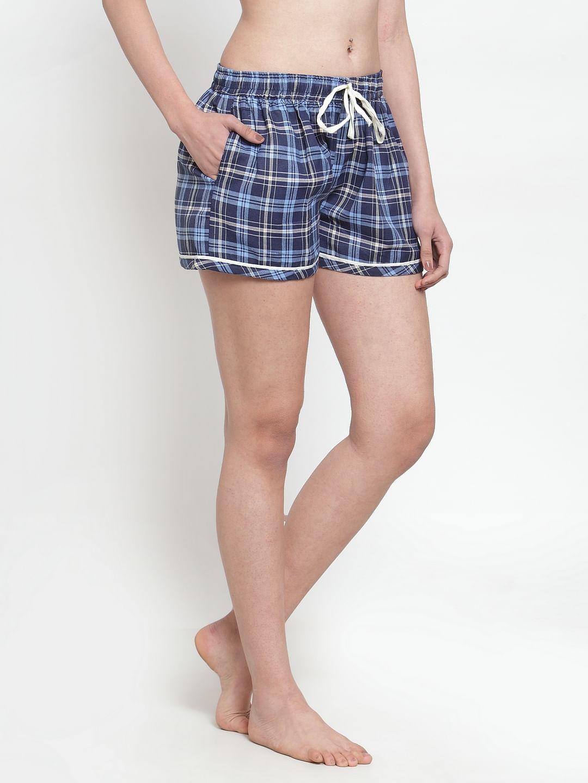Secret Wish Women's cotton Blue checkered shorts