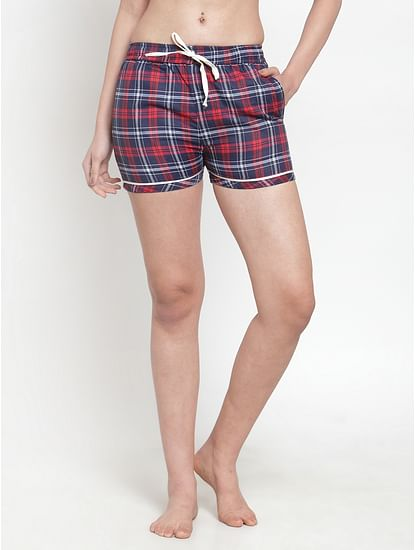 Secret Wish Women's cotton Red checkered shorts