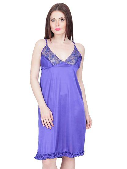 Secret Wish Women's Satin Babydoll Dress (Blue, Free Size)