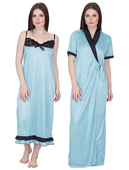 Secret Wish Women's Satin Nighty with Robe (Blue, Free Size)