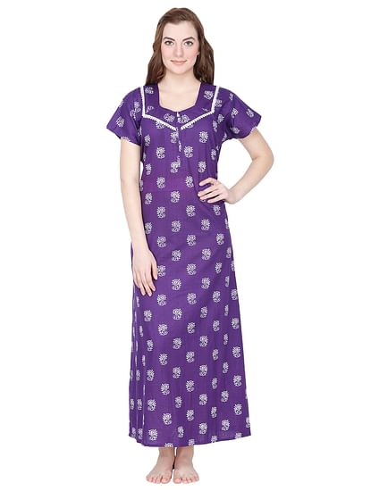 Secret Wish Women's Purple Cotton Printed Maxi Nightdress
