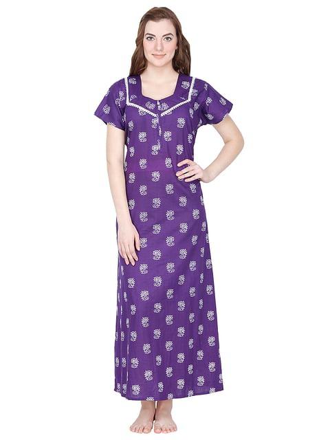 Secret Wish Women's Purple Cotton Printed Maxi Nightdress